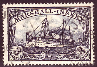 Postage stamps and postal history of the German colonies - Stamp from the yacht issue of the Marshall Islands.