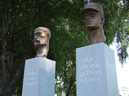 A monument to Tomas Garrigue Masaryk and Milan Stefanik--both key figures in early Czechoslovakia Masaryk a Stefanik.jpg