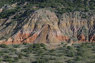 Mass wasting - Mass wasting at Palo Duro Canyon, West Texas (2002)
