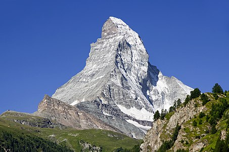 Matterhorn as seen from Zermatt, Wallis, Switzerland, 2012 August.jpg