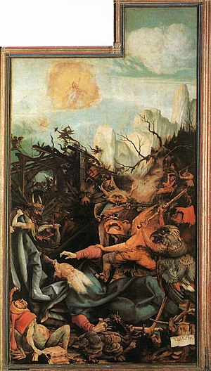 Temptation of Saint Anthony in visual arts - Matthias Grünewald, inner right wing of the Isenheim Altarpiece depicting the Temptation of St. Anthony, 1512-1516 (oil on panel)