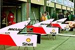 McLaren bodywork in the pit lane at the 1993 British Grand Prix (33645898816).jpg