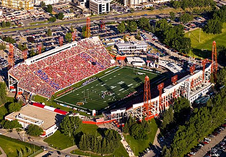 McMahon Stadium is the home stadium for the CFL's Calgary Stampeders and was the Olympic Stadium for the 1988 Winter Olympics. McMahon Stadium 6.jpg