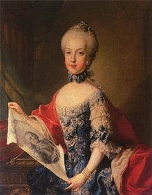 A young blue-eyed girl wears a blue rococo bodice with frilled sleeves while holding a portrait of her father.