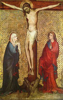 Resultado de imagen de la virgen y san juan junto a la cruz en el arte