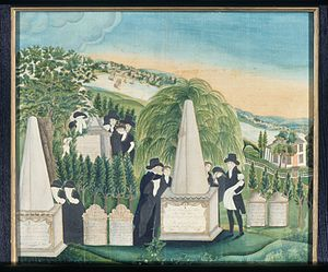 Litchfield Female Academy - Art was part of the curriculum at Litchfield. This painting was made by student Sally Miller in 1811.