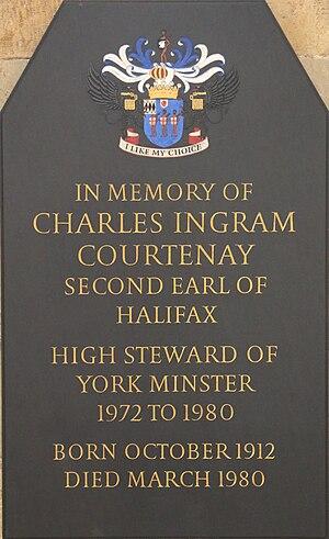 Charles Wood, 2nd Earl of Halifax - Memorial in York Minster