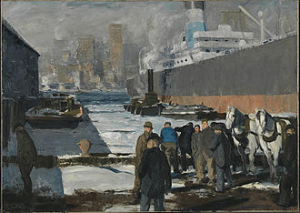 Effects of the Great Recession on museums - George Wesley Bellows' Men of the Docks (1912, oil on canvas) is one of several paintings that Randolph College intends to auction