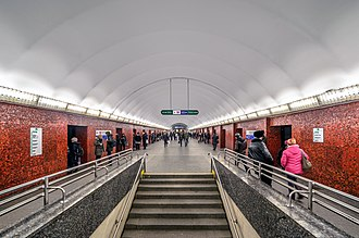Saint Petersburg Metro - Mayakovskaya station is of the horizontal lift design, a type of platform screen doors unique to the Saint Petersburg Metro.