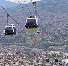 View of Metro Cable (Gondola) from the bottom - Picture of ...