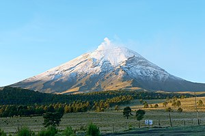 Folktales of Mexico - A north view of Popocatepetl volcano (an inmortal and brave warrior...) which is located on the frontiers of Puebla and Mexico State.
