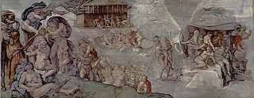 Michelangelo Buonarroti, El Diluvio, Capilla Sixtina, el Vaticano