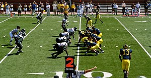 2007 Appalachian State vs. Michigan football game - Michigan's offense lined up at the line of scrimmage against the Appalachian State defense