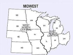 divisions of the midwest by the us census bureau into east north central and west north central separated by the mississippi river