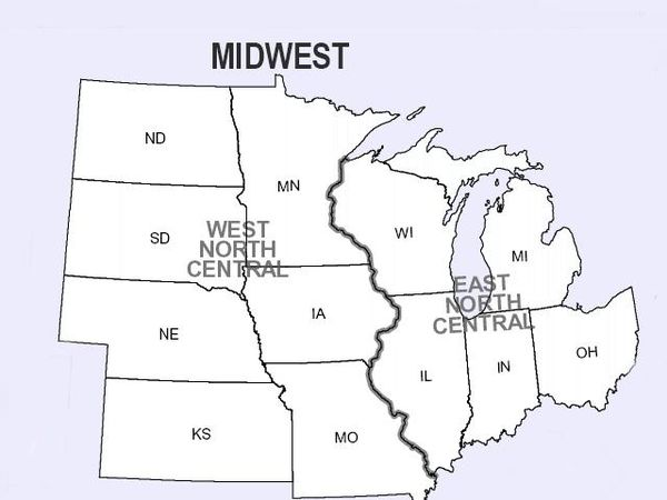 Divisions of the Midwest by the U.S. Census Bureau into East North Central and West North Central, separated by the Mississippi River. Midwest6.jpg