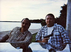 John Bair - Miguel Sandoval and John Bair in Key Biscayne, Florida filming Touchstone Pictures The Crew.