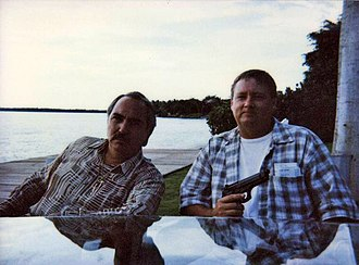 Miguel Sandoval - Miguel Sandoval (left) and John Bair (right) in Key Biscayne, Florida, filming The Crew