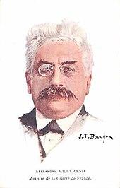 Portretschilderij in kleur van een man met grijswit haar, donkere wenkbrauwen en snor, een bril op en een vlinderdas, een wit overhemd en een zwarte jas