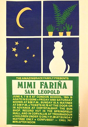 Mimi Fariña - Poster for Mimi Fariña concert held at Condon School in Oregon in June 1975.