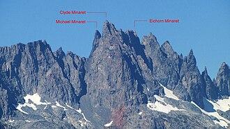 Minarets (California) - Labeled photo of individual Minarets