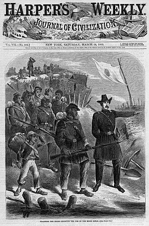 "French weapons in the American Civil War - Training with the Minié rifle during the American Civil War, 1863. The caption reads: ""Teaching negro recruits the use of the Minié rifle""."