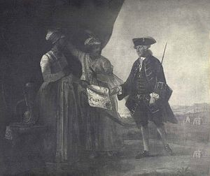 Mir Jafar - Mir Jafar and his son Miran delivering the Treaty of 1757 to William Watts