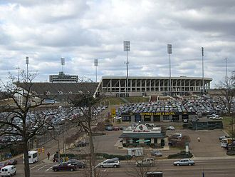Veterans Memorial Stadium is the largest stadium facility in Jackson. Its parking lot often is used by employees of the University of Mississippi Medical Center nearby. Mississippi Veterans Memorial Stadium.jpg