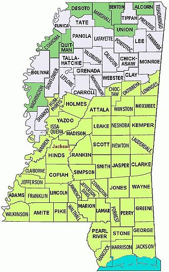 Effects of Hurricane Katrina in Mississippi - Map of Mississippi Counties, noting flood/severe damage areas (yellow shaded counties).