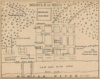 History of Mobile, Alabama - A map of Mobile in 1815.