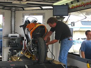 Motorcycle testing and measurement - Image: Mobile bike dyno run prep