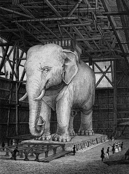 The above is an 1831 engraving of a plaster model for the proposed Elephant of the Bastille monument to the fall of the Bastille prison. Model of the Elephant for the Place de la Bastille, 1831.jpg