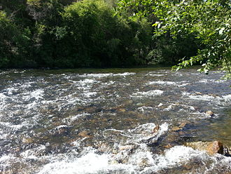 Mokelumne River - Rapids west of Highway 49, part of the Electra-Middle Bar Class II-III whitewater kayaking run