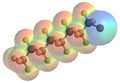 Molecular ball-and-stick model of Perflubron, overlayed with electron-density coded VdW model.png
