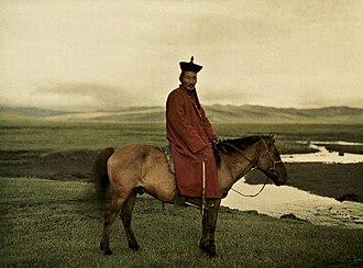Mongols - Buddhist lama in Mongolia near Ulaanbaatar, probably Sodnomyn Damdinbazar.