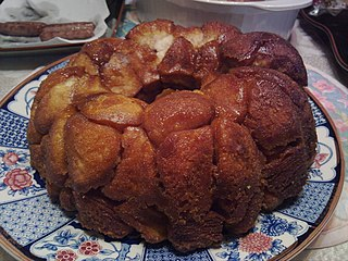 Monkey bread U.S. soft, sweet, sticky pastry, consisting of pieces of soft baked dough sprinkled with cinnamon