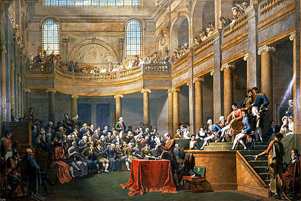 The Consulta of the Republique cisalpine receives the First Consul on 26 January 1802, Nicolas-Andre Monsiau, 1806-08 MonsiauConsultaRepubliqueCsalpine1808.jpg