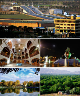 Clockwise from top: Bakhtyari Bridge, Valiasr Square, Senjan, City Park, and the old bazaar.