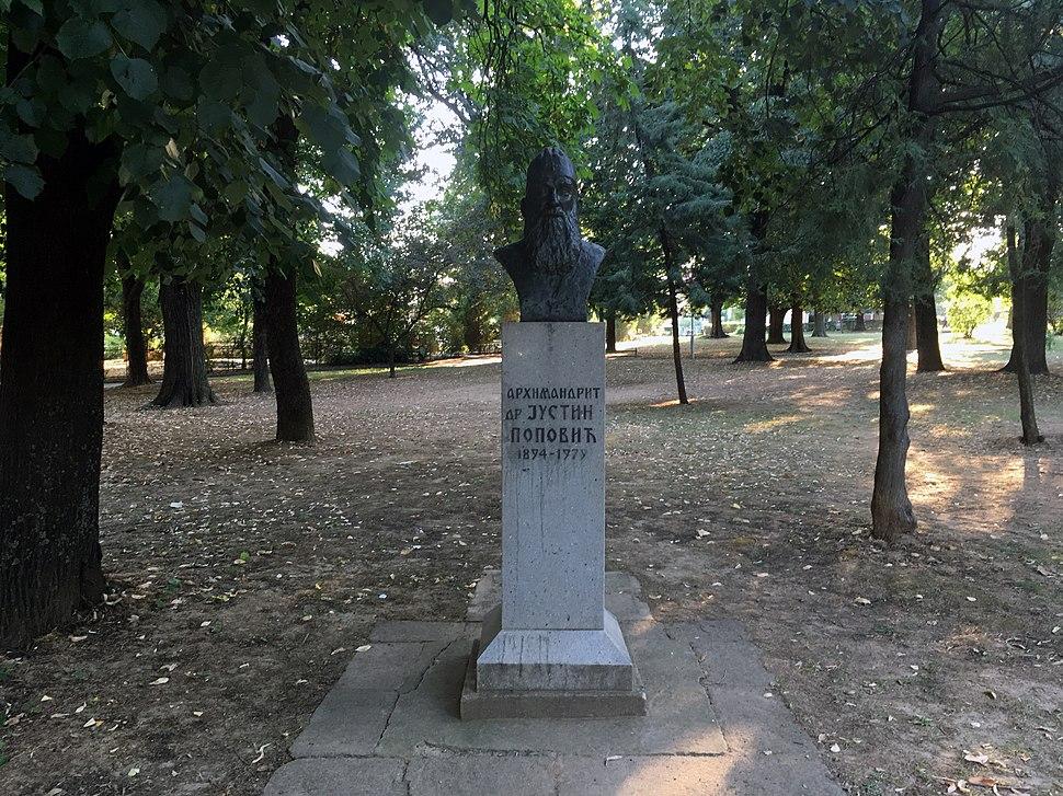 Monument to Justin Popovic in Vranje