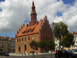 Morąg - Town hall and marketplace