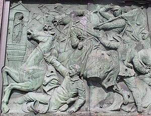 Battle of Nachod - Battle of Nachod on a relief in Berlin, by Moritz Schulz, 1872