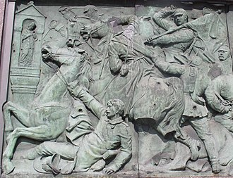 Battle of Nachod - Battle of Nachod on a relief in Berlin, by Moritz Schulz, 1872