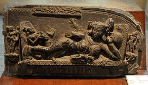 Mother with Child - Circa 11th Century AD - Gangarampur - Gour - West Bengal - Indian Museum - Kolkata 2012-12-21 2386.JPG