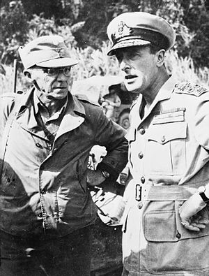 11th Army Group - General Joseph Stilwell (left) and Lord Mountbatten (Supreme Allied Commander South East Asia) conferrring during 1944.