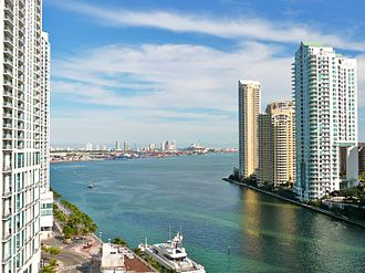 Miami - The mouth of the Miami River at Brickell Key