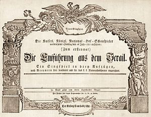 Die Entführung aus dem Serail - Announcement for the premiere at the Burgtheater