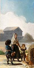 Une femme et deux enfants à la fontaine
