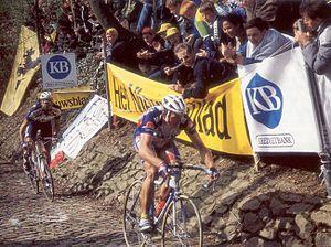 1995 Tour of Flanders - Johan Museeuw and Fabio Baldato on the Muur van Geraardsbergen