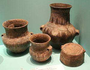Corded Ware culture - Corded Ware pottery in the Museum für Vor- und Frühgeschichte (Berlin). Ca. 2500 BCE