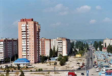 Microdistricts, such as this one in Mykolaiv, became common sights throughout the Ukrainian SSR's cities. Mykolayiv, Namyv.jpg