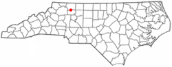 Location of Boonville, North Carolina